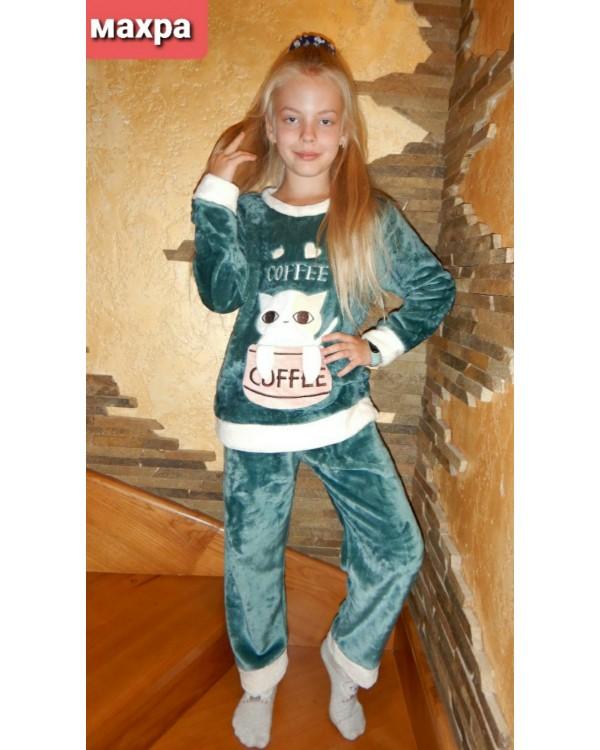 Тепла дитяча махрова піжама 8842-green