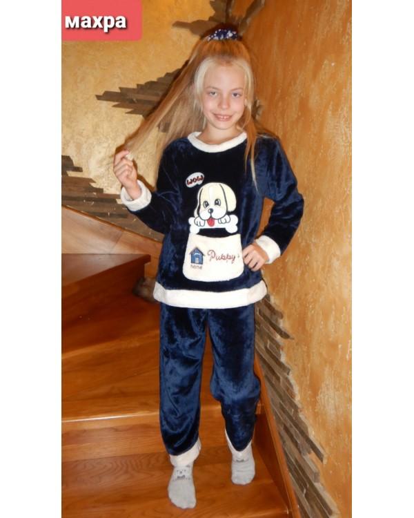 Тепла дитяча махрова піжама 8843-blue