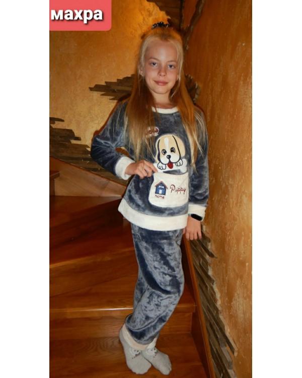 Тепла дитяча махрова піжама 8843-gray