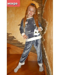 Тепла дитяча махрова піжама 8851-gray