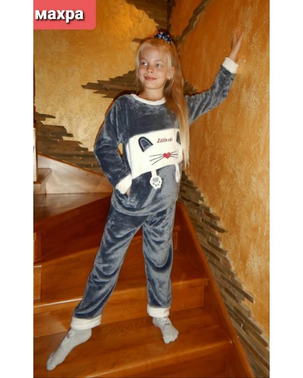 Тепла дитяча махрова піжама 8840-grey