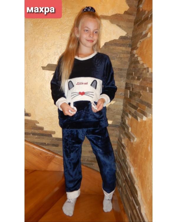 Тепла дитяча махрова піжама 8840-blue