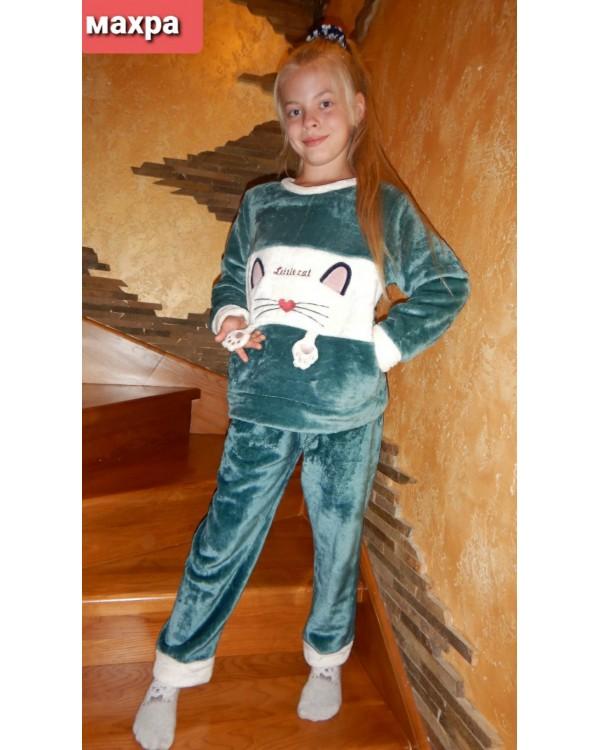 Тепла дитяча махрова піжама 8840-green