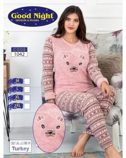 """Флісова молодіжна піжама """"Мордашка"""" рожевого кольору"""