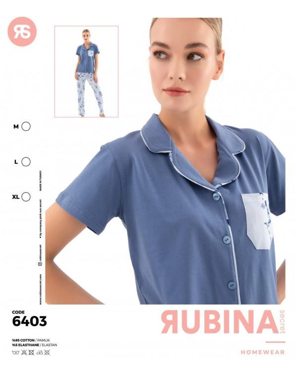 Жіноча піжама з гудзиками і штанами Rubina Secret 6403
