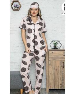 Жіноча піжама з гудзиками і штанами Pijamoni Oreo