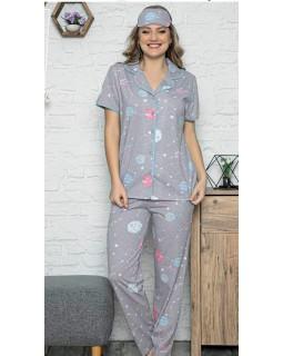 Жіноча піжама з гудзиками і штанами Pijamoni Планети