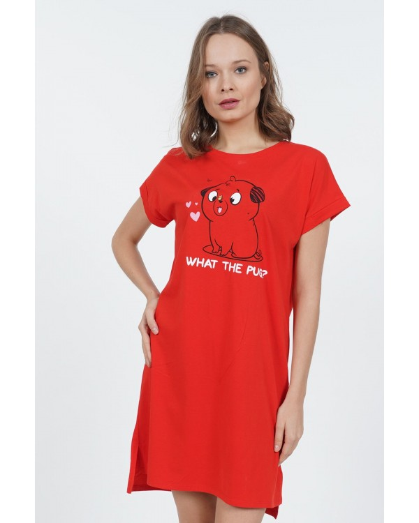 "Молодіжна сорочка Vienetta ""What the pug?"" red"