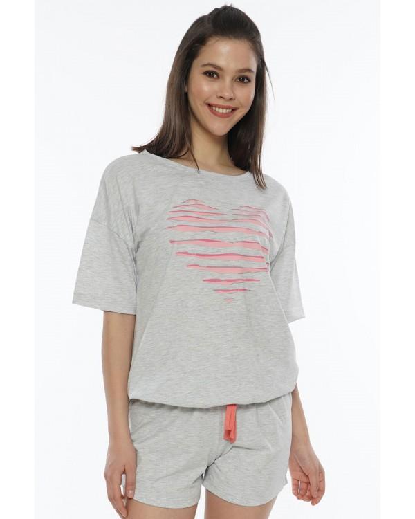 Молодіжна піжама з шортами Vienetta HEART Gray