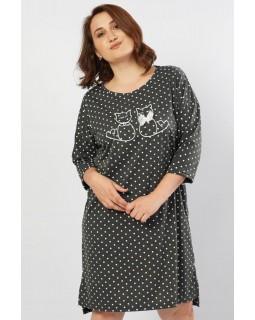 Молодіжна нічна сорочка довгий рукав Vienetta CATS DGray
