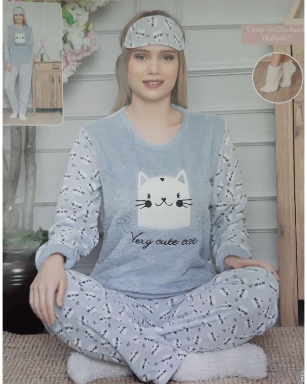 М'яка молодіжна піжама фліс і махра 'Very cute cat'